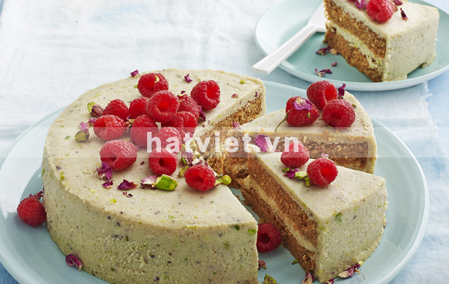 Cashew cake with carrots and raspberries