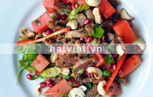 Duck, watermelon salad with cashews
