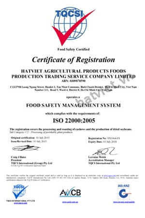 Vietnuts - ISO 22000:2005 Certificate