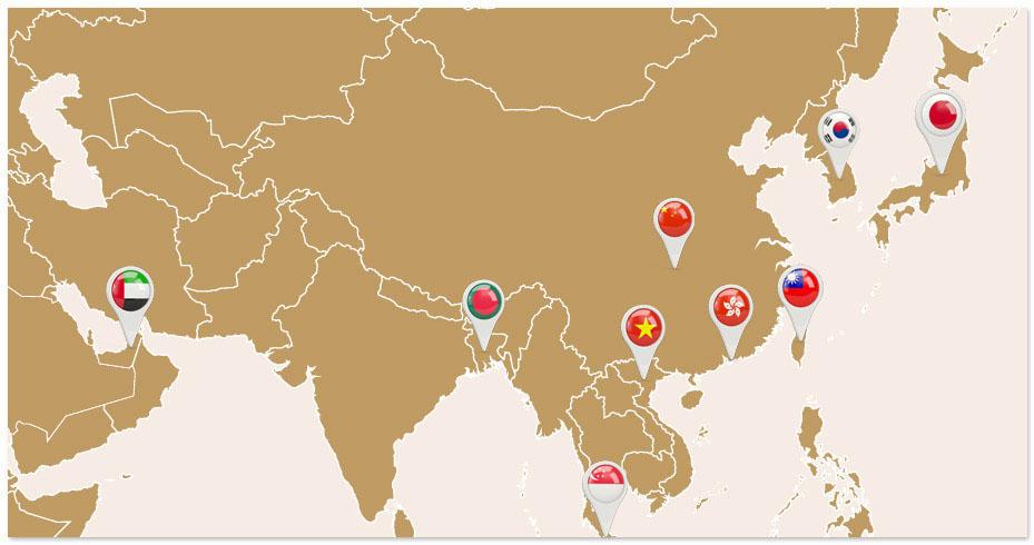 Hạt điều Vietnuts đã xuất khẩu sang các nước Nhật Bản, Các tiểu vương quốc Arap thống nhất, Hong Kong, Đài Loan, Trung Quốc, Singapore, Bangladesh