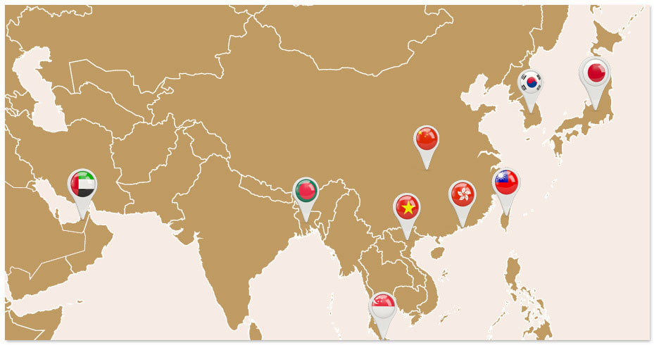 Hạt điều Vietnuts đã xuất khẩu sang các nước Nhật Bản, Các tiểu vương quốc Arap thống nhất, Hong Kong, Đài Loan, Trung Quốc