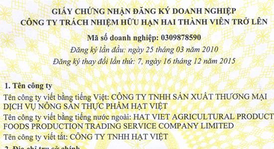 Giấy phép kinh doanh Vietnuts
