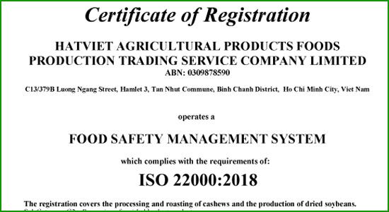 Giấy chứng nhận ISO 22000:2005 Vietnuts