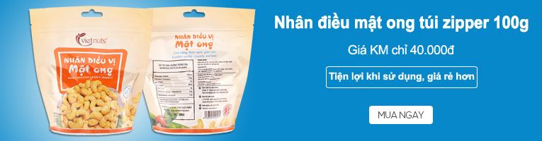 Khuyến mãi Hạt điều mật ong Vietnuts túi zipper 100g