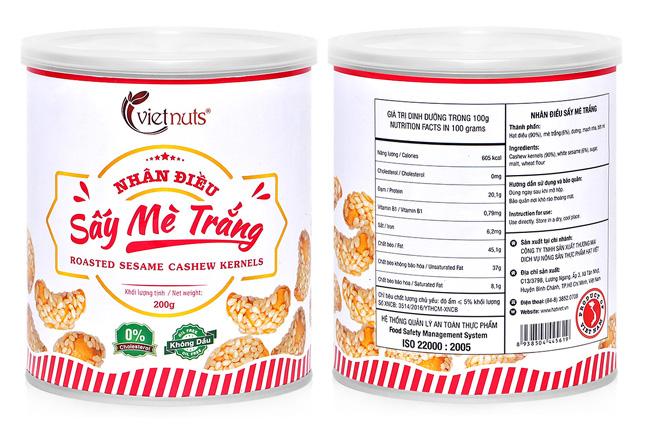 Hạt điều sấy mè trắng Vietnuts 200g - Roasted Sesame Cashew 200g Vietnuts