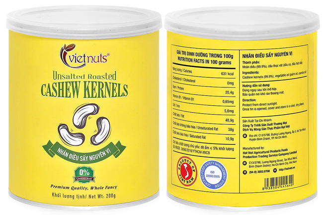 UnSalted Roasted Cashew Kernels Canister 200g