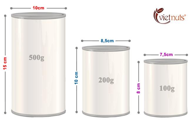 Kích thước hộp hạt điều Vietnuts