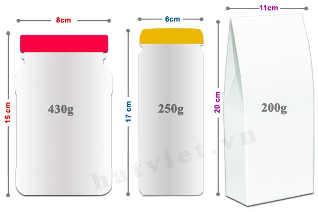 Kích thước hộp hạt điều vỏ lụa Vietnuts