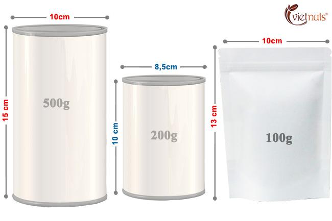 Kích thước hộp hạt điều sấy nguyên vị Vietnuts